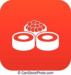Sushi icon digital red