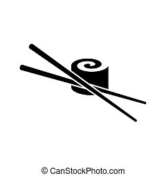 Sushi icon - Black vector sushi with chop sticks icon...
