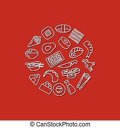 sushi, iconos, en, círculo