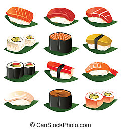 Sushi icons - A vector illustration of sushi icon sets