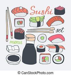 Sushi icons doodle set