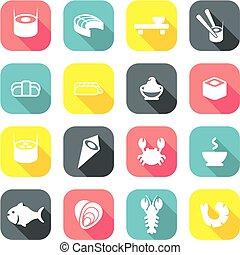 Sushi Icons Flat Design 1