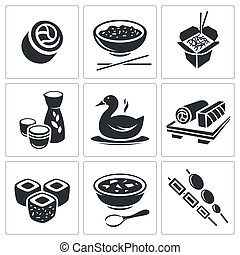Sushi Icons set - Sushi icon collection on a white ...