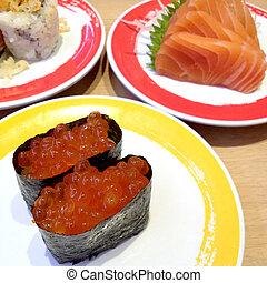 Sushi ikura, salmon sashimi