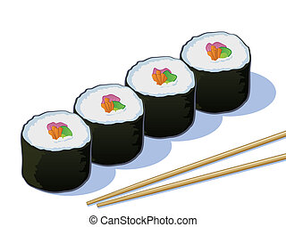 Sushi Illustration on White - Sushi Rolls with Chop Sticks...