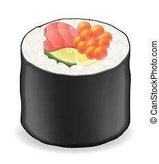 sushi, illustration, vecteur, algue, nori, rouleaux