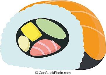 Sushi, illustration, vector on white background.