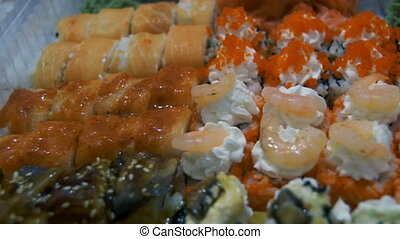 Sushi in Plastic Box - Sushi in plastic box full of...