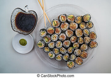 Sushi - Ingredients in bowls and chopsticks - Chopsticks,...
