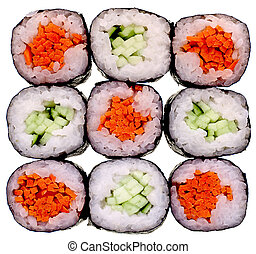 sushi isolated on white - Super clean white background--...
