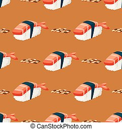 Sushi japanese cuisine traditional food flat healthy gourmet seamless pattern background asia meal culture roll vector illustration.