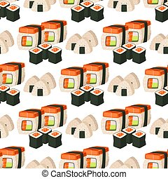Sushi japanese cuisine traditional food flat healthy gourmet seamless pattern meal culture roll vector illustration.