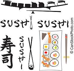 sushi - japanese dish set, japanese calligraphy, fresh food