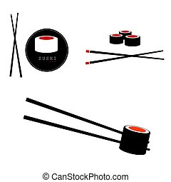 sushi japanese food delicious set in color illustration