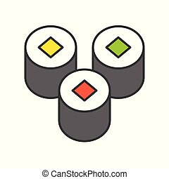 sushi, Japanese food, food and gastronomy set, filled outline icon