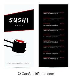 sushi japanese food in color illustration