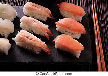 Sushi japanese food platter chopsticks