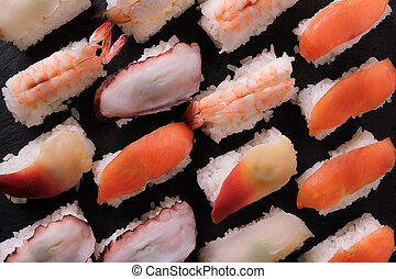 Sushi japanese food platter top view