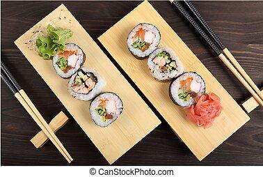 Sushi - Japanese food, sushi with ginger and lettuce on ...
