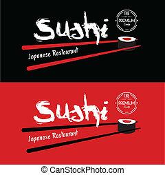 sushi, japoneses, restaurante, desenho