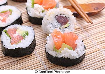 sushi, japonsko, tradiční, strava, balit