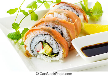 sushi, lax, rulle