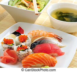 Sushi lunch with miso soup and green salad
