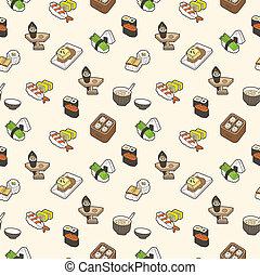 sushi, mönster, seamless