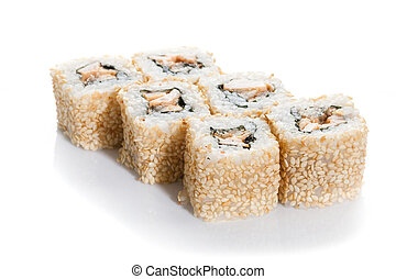 Sushi maki in sesame on white ground