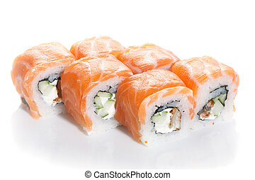 Sushi maki with salmon topping on white ground