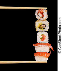 Maxi sushi on black background