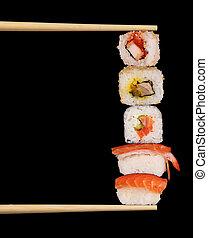 Sushi - Maxi sushi on black background
