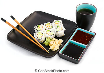 Sushi Meal Isolated on White with Tea