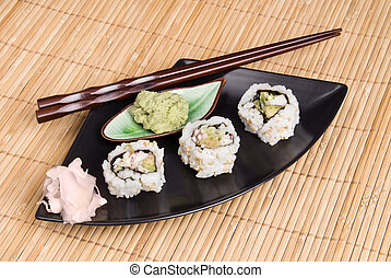 Sushi meal on bamboo placemat