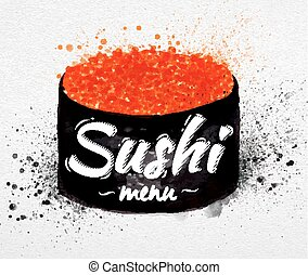 sushi, menu, aquarelle, affiche