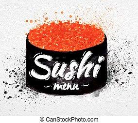 sushi, menu, cartaz, aquarela
