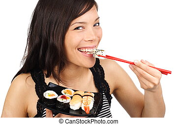 sushi, mulher