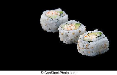 sushi, nero, diagonale
