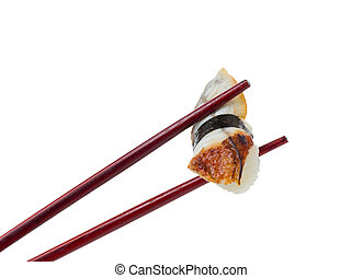 Sushi nigiri in brown chopsticks isolated on white background