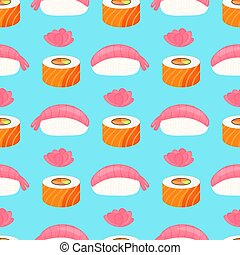 Sushi nigiri with shrimp, roll with salmon and ginger. Traditional japanese food. Seamless pattern.