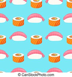 Sushi nigiri with shrimp, roll with salmon. Traditional japanese food. Seamless pattern.