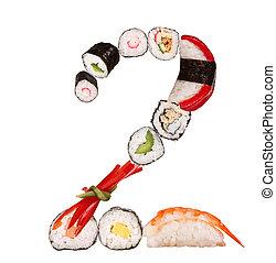 Sushi number isolated on white background