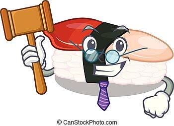 sushi, obsloužený, odsoudit, deska, karikatura, hokkigai