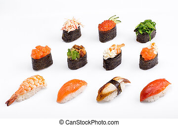 Sushi of different kinds on a white background. Range.