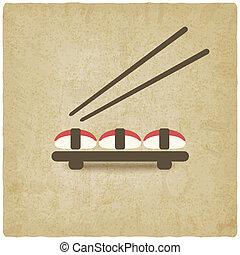 sushi old background - vector illustration
