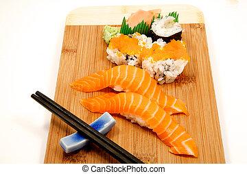 Sushi on a babmoo board