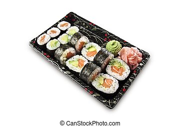 sushi on a black to go platter 2