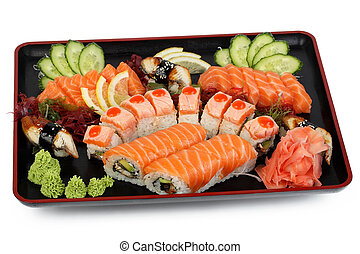 Sushi on a black tray