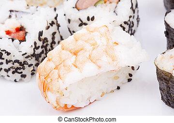 Sushi on a white background
