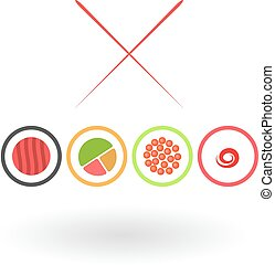 Sushi on a white background. Vector illustration.